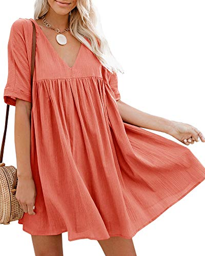 - Bigyonger Womens A-Line Short Sleeve Tunic Dress V Neck Soild Babydoll Pleated Mini Dresses Red