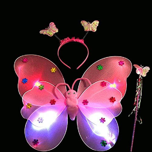 Iuhan Girls Led Fairy Butterfly Wing Wand Headband, 3pcs/Set Girls Led Flashing Light Fairy Butterfly Wing Wand Headband Costume Toy (Pink)