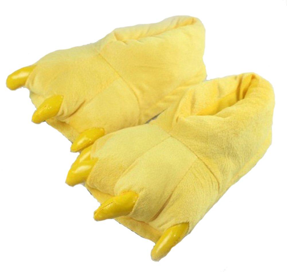 Tonwhar Adult & Children Size Fuzzy Bear Paw Animal Slippers (M 32-41, Yellow)