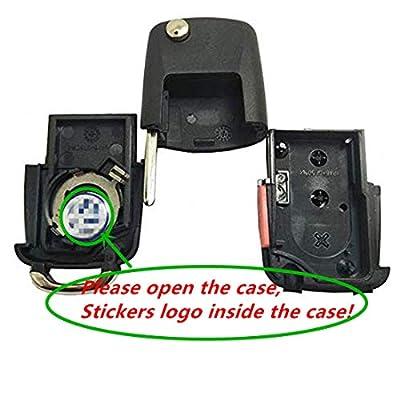 New Uncut blade Keyless Remote Key Fob Shell Case No Chips Inside for VW Volkswagen Jetta Passat Golf Beetle Rabbit GTI CC EOS (Black Pack 2): Automotive