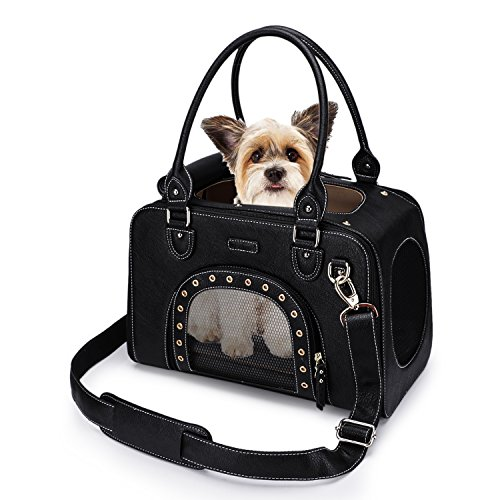 PetsHome Dog Carrier Purse, Pet Carrier, Cat Carrier, Foldable Waterproof Premium Leather Pet Travel Bag Carrier with…