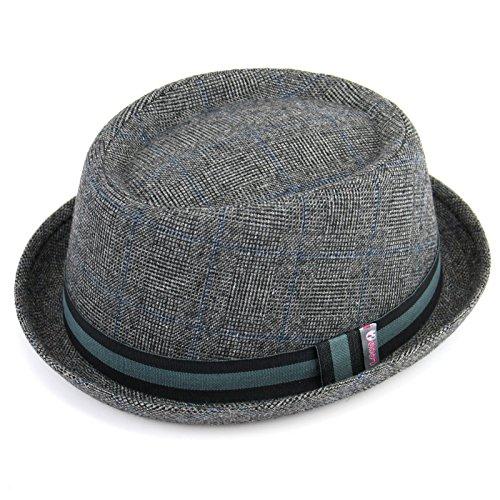 Tweed 'Pork Pie Hat mit Stripe Band Streifen Hohe Qualität-Licht Grau von Hawkins Gr. 59 cm, Grau - Grau