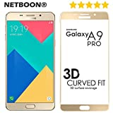 Samsung A9/Samsung A9 Pro Tempered Glass Screen Protector Full Edge to Edge Cover - NETBOON Branded Tempered Glass HD Clarity Premium Quality Screen Guard, 9H Hardness, Ultra thin, Anti-Scratch Original Screen Protector Gorilla Glass Guard for Samsung Galaxy A9/Samsung Galaxy A9 Pro (2016) - Gold