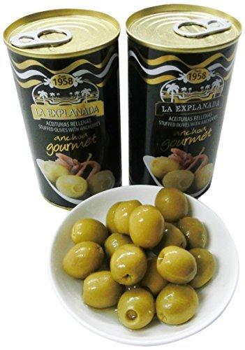 La explanada - Anchoa Gourmet - Aceitunas verdes rellenas de anchoa - 150 g - [set di 5]: Amazon.es: Alimentación y bebidas