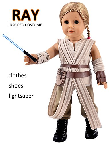 Ebuddy Rey Inspired Costume 8pc/Set Clothes for 18 inch American Girl (Cloth Set+Lightsaber)