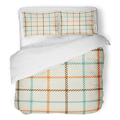 SanChic Duvet Cover Set Blue Check Plaid Red Pattern Tartan Tattersall Woven Decorative Bedding Set with Pillow Sham Twin Size - Blue Tattersall Check