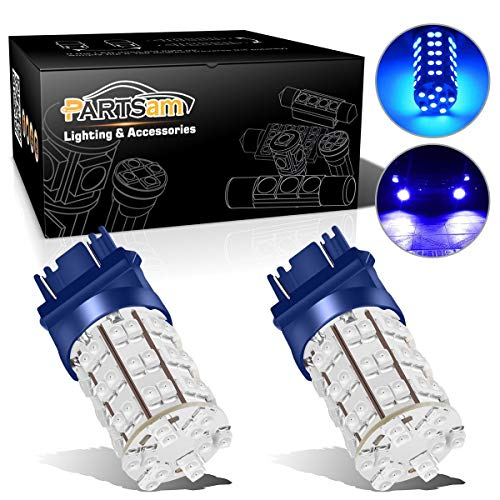 Partsam Blue 3157 60-SMD LED Bulbs DRL Daytime Running Light Bulb 420LM 52mm size LED Bulbs lights 3757 4114 4157