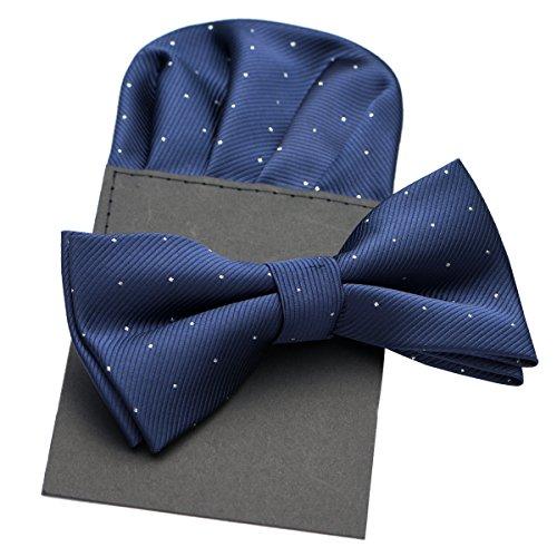 Anovaties Mens Silk Hot Polka Dot Pre-Tied Bow Tie & Hanky Card Set - Various ()
