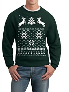 Skip N' Whistle Adult Ugly Christmas Sweater Reindeer In Snow Pullover Sweatshirt by SOHU Show