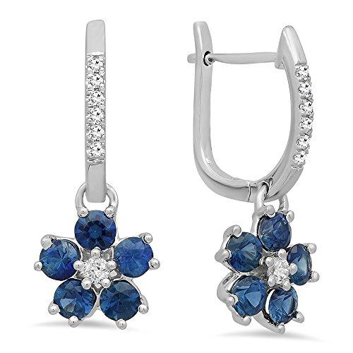 (14K White Gold Round Blue Sapphire & Diamond Ladies Cluster Flower Dangling Drop Earrings)