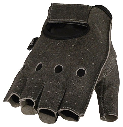 Milwaukee Leather Men's Leather Fingerless Gloves w/Gel Padded Palm-Distressed Gry-Large Grey