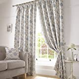 Sundour Hereford Floral Woven Fully Lined Readymade Pencil Pleat Curtains, Blue - 90 x 72 by Dove Mill Curtains
