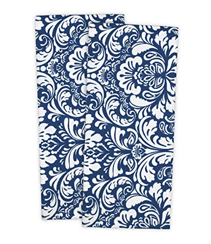 DII Cotton Damask Kitchen Dish Towels, 28 x 18 Set of 2, Low Lint Decorative Tea Towel for Everyday Cooking and Baking-Nautical Blue