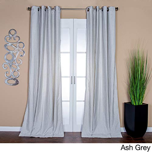 Lambrequin Ava Stripe Linen Blend Curtain Panel, 96