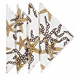 Cloth Napkins Linen Napkins Dinner Napkins Party Nautical Decor Starfish 18 Inches Pk 12
