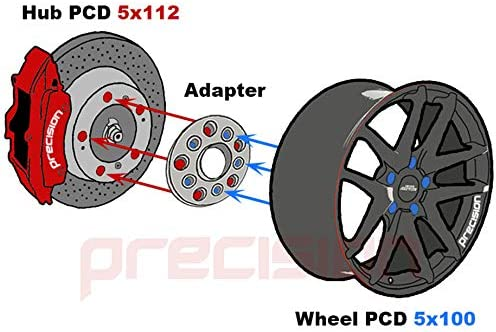 4AD02+20SB01194 2 Pairs of 15mm Hubcentric PCD Adapters 5x112 to 5x100 for ṾW Touran MK1 Part No