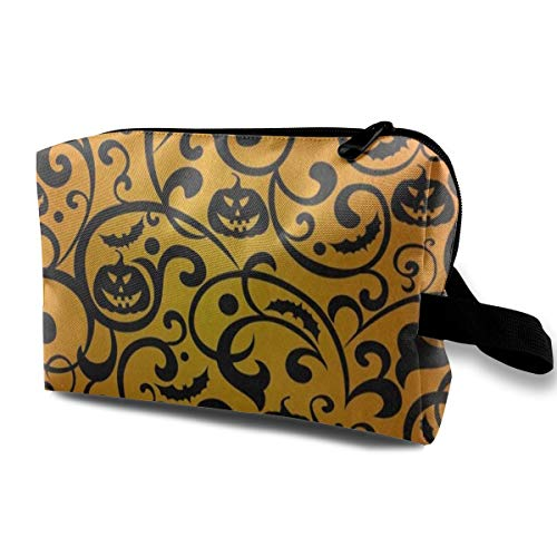 Travel Cosmetic Bag Portable Toiletry Bag Halloween Damask Pumpkin Makeup Pouch Case Organizer For Travel