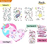 Unicorn Kawaii Coin bags, Unicorn Removable Tattoos, Unicorn Hair Bands Set for Children/Girl Party Gifts