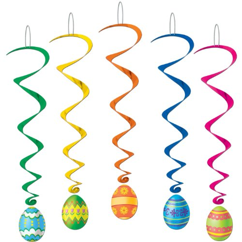 Beistle 40050 5-Pack Easter Egg Whirls for Parties, 3-Feet (Halloween Stores In Orange Ca)