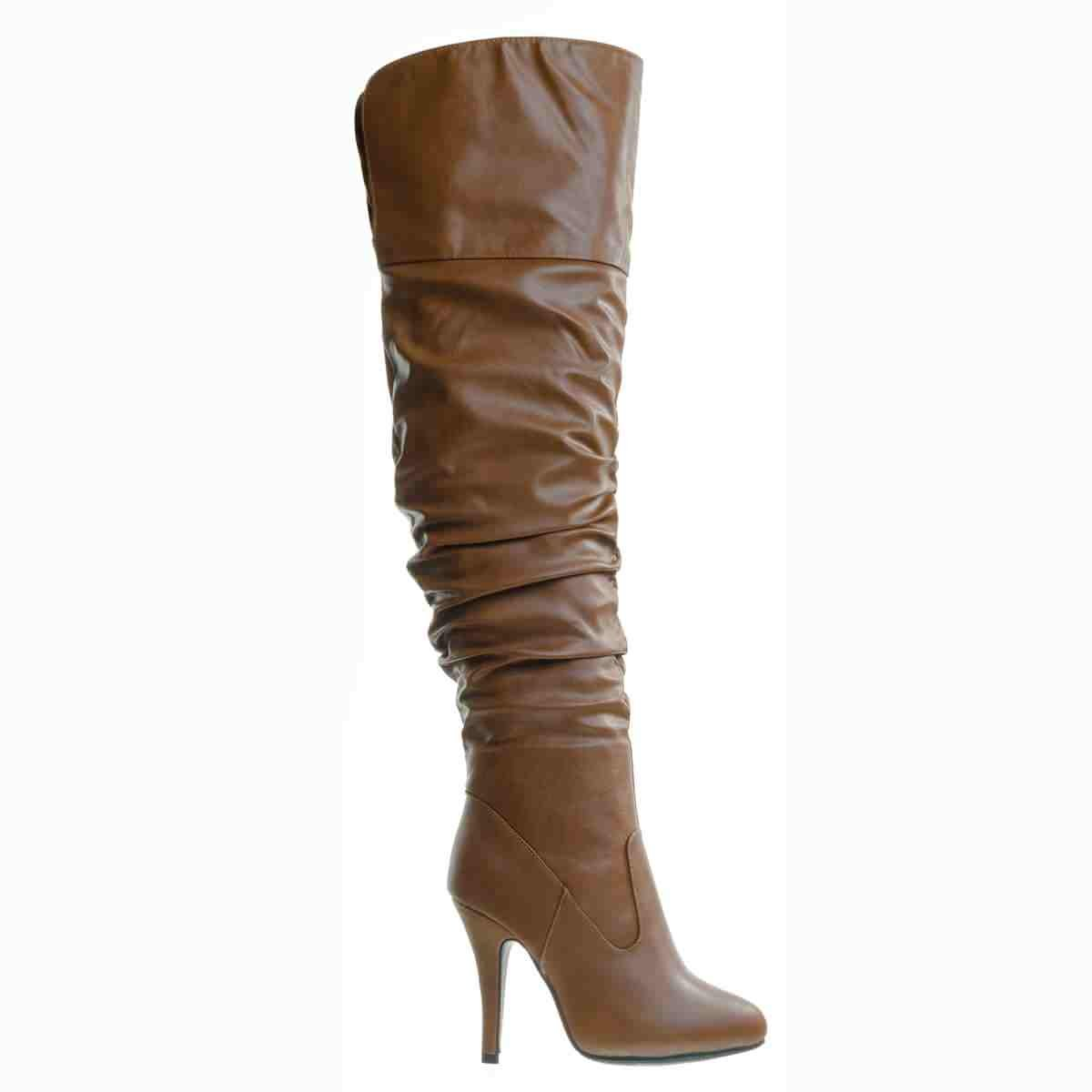 Women's Tan Fold Down Over-the-Knee Stretch Slouchy High-Heel Faux Leather Boots