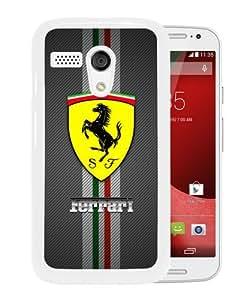 Newest Motorola Moto G Case ,Ferrari logo White Motorola Moto G Cover Case Fashionable And Popular Designed Case Good Quality Phone Case