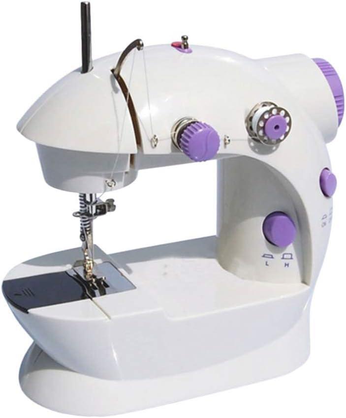 SUPVOX Mini máquina de coser portátil máquina de reparación eléctrica con lámpara velocidad ajustable cortador de hilo batería o adaptador de corriente enchufe estándar del Reino Unido