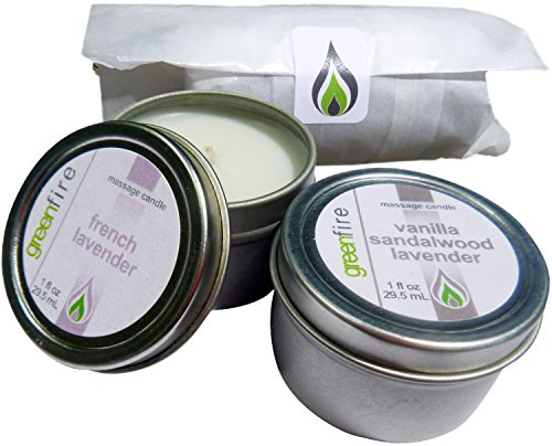 - Greenfire All Natural Massage Oil Candles, French Lavender and Lavender Sandalwood Vanilla Blends, Travel Size 1 Fluid Ounce, Set of 2