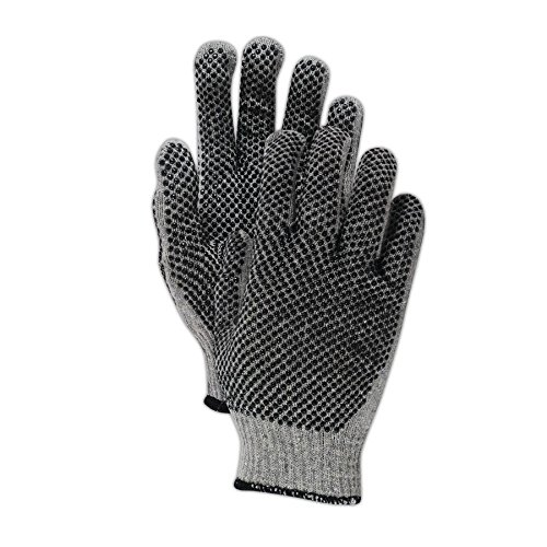 Pvc Dotted Cotton Glove (Magid Glove & Safety G823CPR Magid Gray Shadow G823PR Ambidextrous PVC Dotted Knit Gloves, Men's (Fits ), Natural , Ladies (Fits Medium) (Pack of 12))