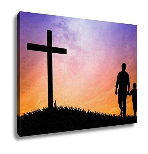 Ashley Canvas, Father And Son Praying Under The Cross, Home Decoration Office, Ready to Hang, 20x25, AG6514693 by Ashley Canvas