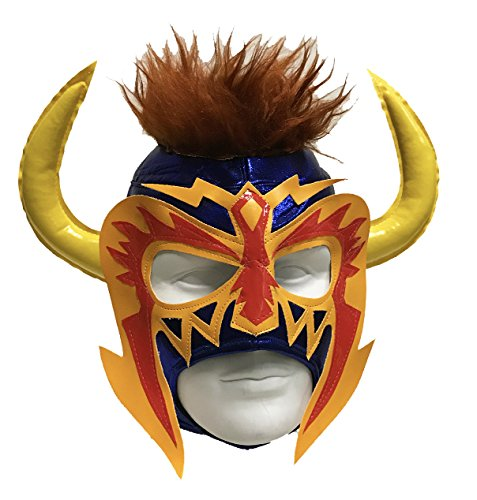 PSICOSIS Adult Lucha Libre Wrestling Mask (pro-fit) Costume Wear - Blue/Yell/Red by Mask Maniac