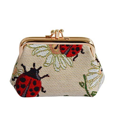 Red Ladybug and Daisy Pattern Tapestry Double Clasp Frame Coin Change Purse by Signare (FRMP-LDBD) -