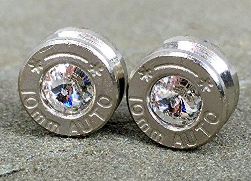 (40 Caliber 10MM Swarovski Diamond Bullet Casing Stud Earrings)