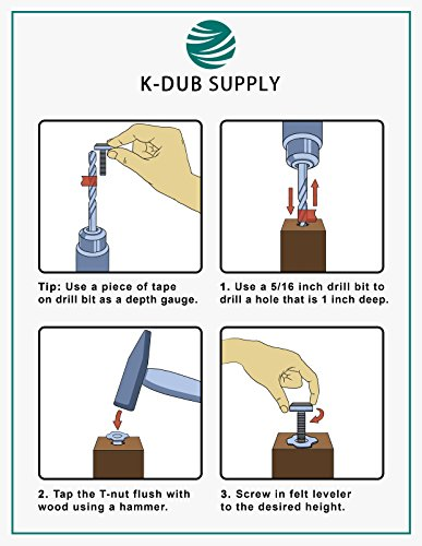 Furniture Levelers- Adjustable felt-bottomed pads for table, chair, and furniture legs-Pack of 8 with durable metal T-nut-Heavy Duty threaded furniture glides- Hardwood floor protectors- leveling feet by K-DUB Supply (Image #5)