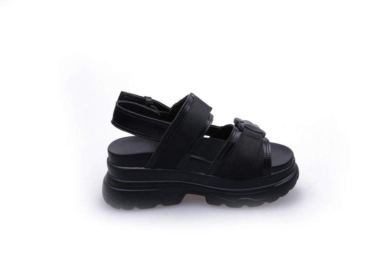 Black EUR 35 UK 3 US 5 Women's Ladies Casual Lightweight Sandal shoes SlipOn Loafers MidHeel Summer Beach Open Toe Platform shoes Rubber Sole Sport Sandals Pu Sandal Flip Flops for Women, WenMing