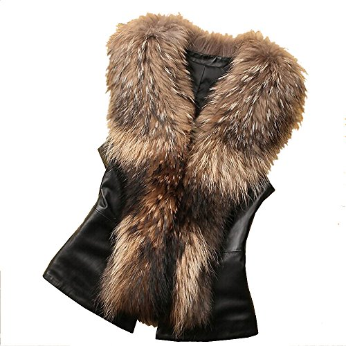 Leather Coat With Fur Collar - 9