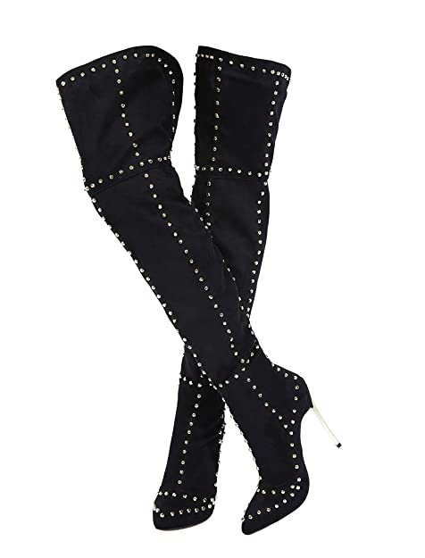 Stupmary Women's Thigh High Over The Knee Boots Studded Stilleo Heels Pointed Toe Rivets Winter Bootie by Stupmary