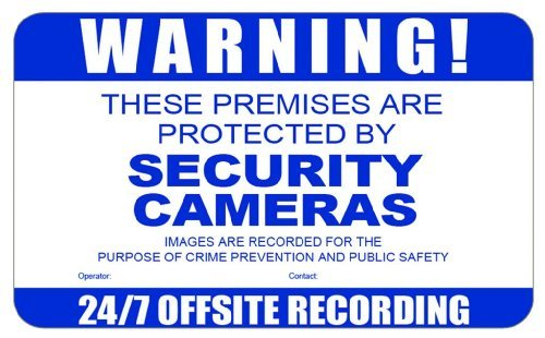 Warning Security Cameras Decorative Sign with sticky tabs