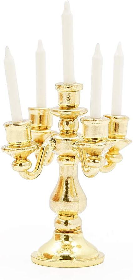 1//12 Scale Miniature Gold Candelabra 5 White Candles Dollhouse Kitchen toyGVUS