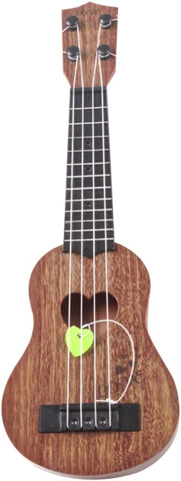 HEALLILY Niños Pequeños Ukelele Guitarra Juguete 4 Cuerdas Niño Instrumentos Musicales Juguete Mini Guitarra Juguete para Niños (39 Cm Café)