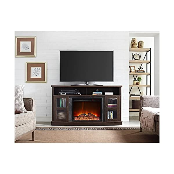 """Ameriwood Home Barrow Creek Fireplace Console with Glass Doors for TVs up to 60"""", Espresso"""