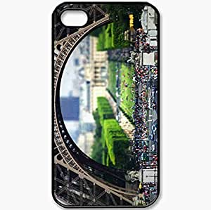 Protective Case Back Cover For iPhone 4 4S Case Tilt Shift Paris People The Eiffel Tower Mini Black