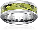 Triton Men's Tungsten 8mm Green Camo Inlay Comfort Fit Wedding Band, Size 10