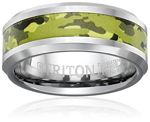 Triton Men's Tungsten 8mm Green Camo Inlay Comfort Fit Wedding Band, Size 10 by Amazon Collection