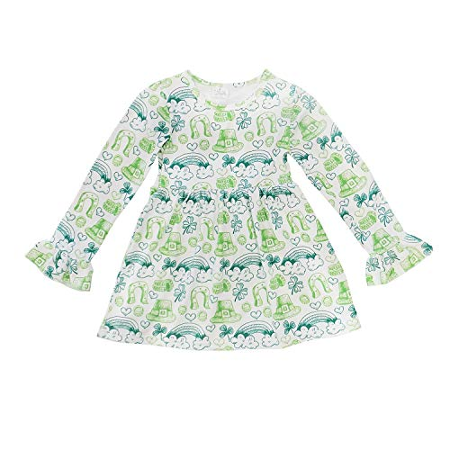 (So Sydney Little Girls Long Sleeve Fall Winter Flare Stretch Cotton Holiday Princess Dress (XS (2T), Lucky)