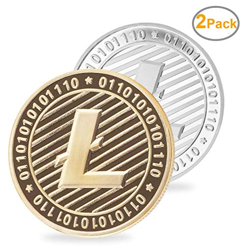 LZWIN 2 PCS Set of Gold and Silver Plated Litecoin Deluxe Collectors Set | Comes w/ a Plastic Round Display Case