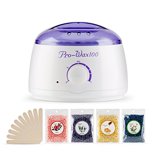 Hair Removal Waxing Kit Hair Remover Electric Hot Heater Wax Warmer with 400 Gram Different Hard Wax Beads(Honey Rose Lavender Chamomile)and 10 Pack Wax Applicator Sticks