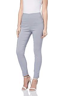 Womens Relax Fit Front Zip Bengaline Trouser Girls School Uniform Plain Pants