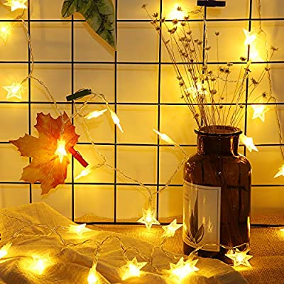 Meyin Star String Lights 16.4ft Battery Operated Twinkle Lights 50 LEDs Fairy Lights Warm White for Patio Garden Party Christmas Tree Bedroom Decoration Lighting