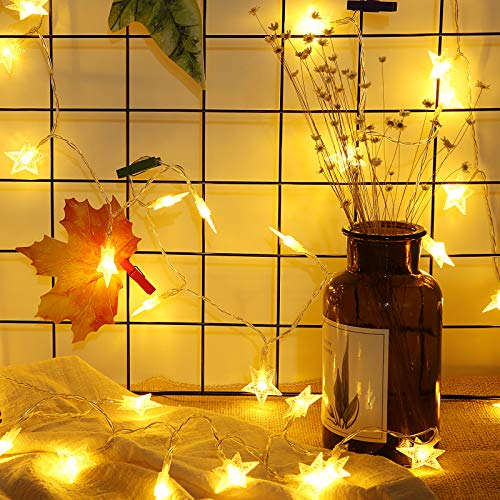 Meyin Christmas Star String Lights 16.4ft Battery Operated Twinkle Lights 50 LEDs Fairy Lights Warm White for Patio Garden Party Christmas Tree Bedroom Decoration Lighting