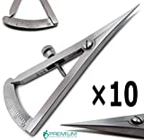 10 Pcs Superior Dental Castroviejo Caliper 0 to 20 mm Straight 3.25'' Surgical Instruments